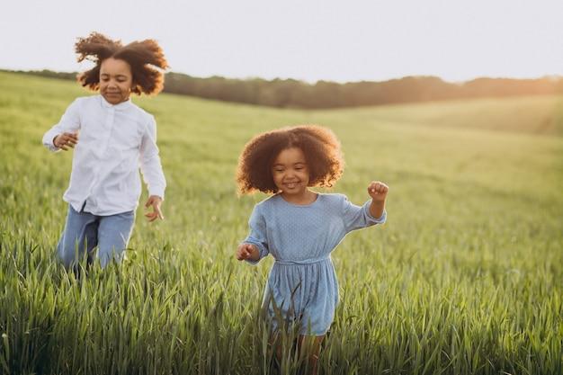 Irmão e irmã juntos no campo ao pôr do sol