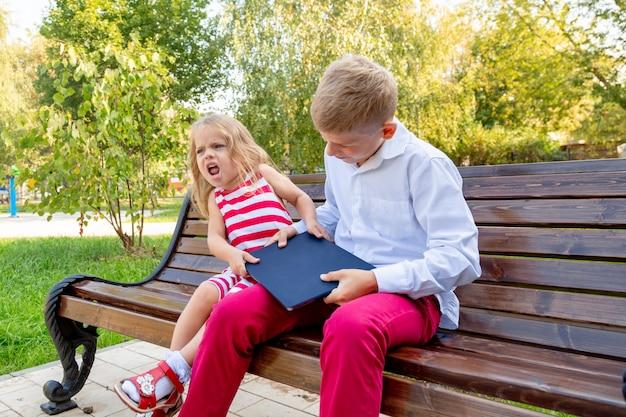 Irmão e irmã no parque em um banco tiram um laptop um do outro
