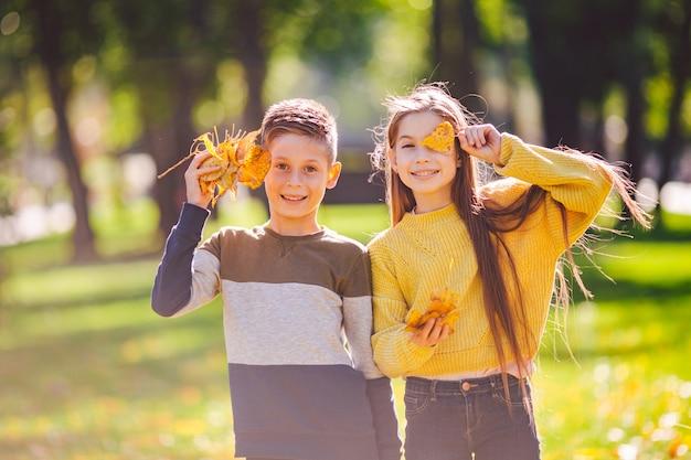 Irmãos caucasianos felizes curtindo no dia de outono no parque