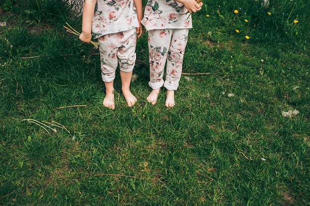 Irmãs gêmeas em trajes fofos