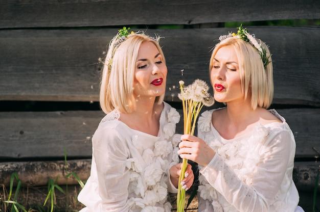 Irmãs gêmeas soprando dandelions