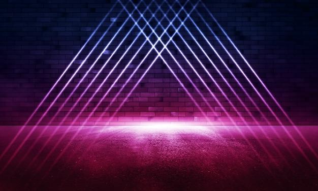 Irradia luz de néon na parede de tijolos de néon. cena vazia. reflexos de néon no asfalto molhado.