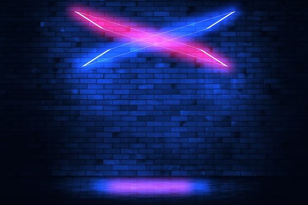 Irradia luz de néon na parede de tijolos de néon com asfalto molhado. cena vazia copiar espaço