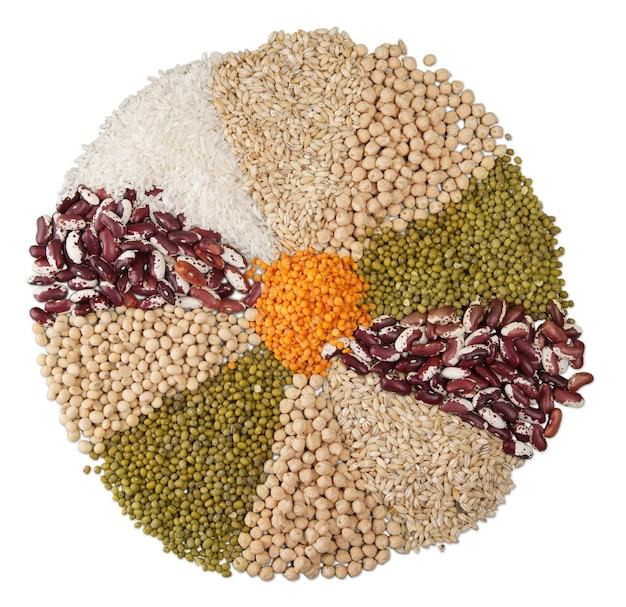 Irradiar fundo, raios de diferentes feijões, leguminosas, ervilhas, lentilhas isoladas em branco