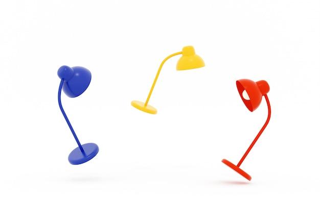 Isolado amarelo e vermelho azul do candeeiro de mesa no fundo branco, ilustração 3d.