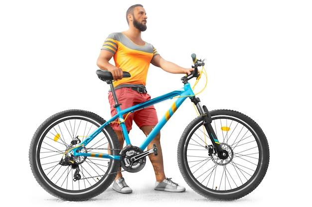 Isolado. ciclista em t-shirt amarela com bicicleta em silhueta. esporte. estilo de vida saudável