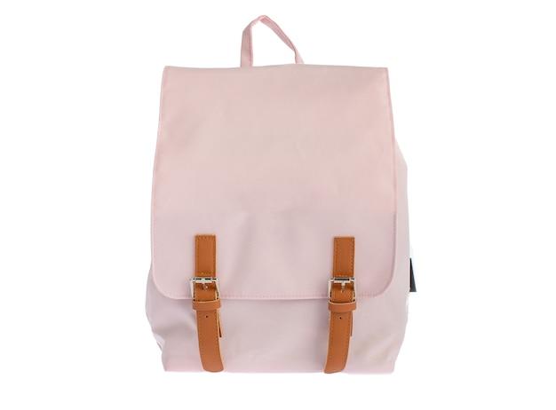 Isolado, closeup, estúdio tiro de novo pequeno casual moderno moderno na moda saco rosa de tecido-de-rosa em fundo branco.