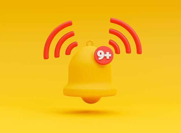Isolado de alerta de toque de notificação de sino amarelo com nove avisos em fundo amarelo para smartphone e lembrete de aplicativo pela técnica de renderização 3d.