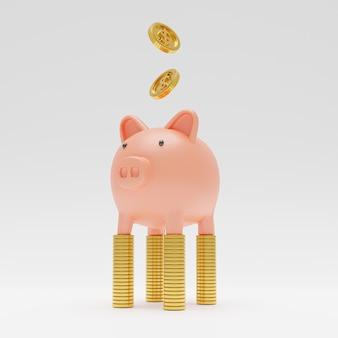 Isolado de cofrinho rosa em pé sobre moedas de ouro, empilhando com moedas caindo no fundo branco por renderização em 3d.