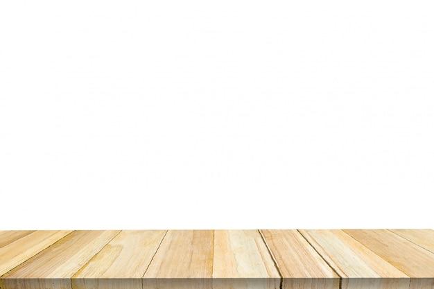 Isolado de madeira vazio no fundo branco.