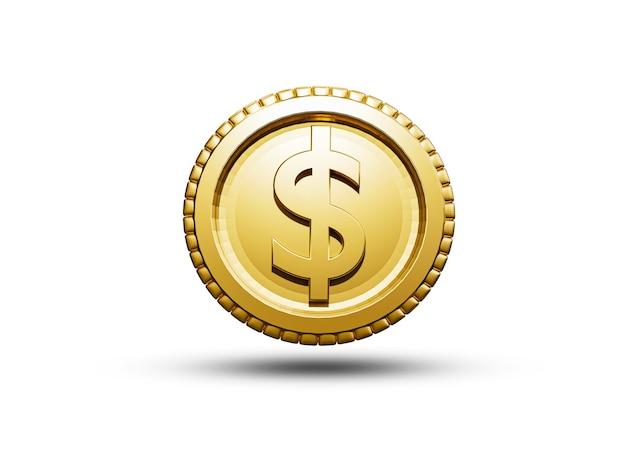 Isolado de moedas de ouro do dólar americano sobre fundo branco para dinheiro e transferência de dinheiro, conceito de renderização 3d.