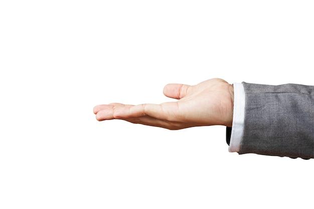 Isolado de segurar uma mão para tirar algo sobre fundo branco