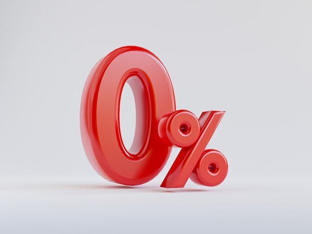 Isolado de vermelho zero percentual ou 0 por cento para oferta especial de loja de departamentos de compras e conceito de desconto por renderização 3d.