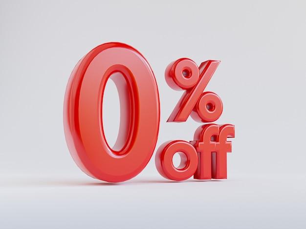Isolado de zero por cento ou 0 por cento de desconto para oferta especial de loja de departamentos de compras e conceito de desconto por renderização 3d.