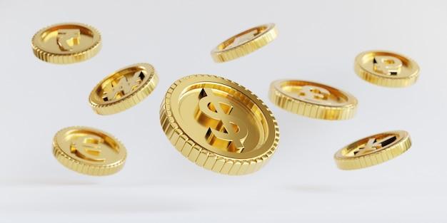 Isolamento de moedas de ouro do dólar americano voando sobre fundo branco para o conceito de economia de investimento e depósito em 3d render.