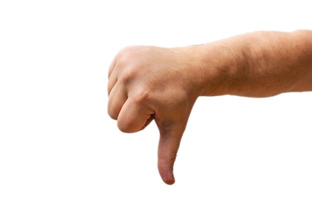 Isolar o polegar da mão isolado para baixo no fundo branco. símbolo de rejeição