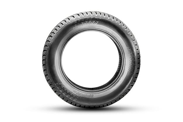 Isole o pneu, vista lateral, ícone em um fundo branco