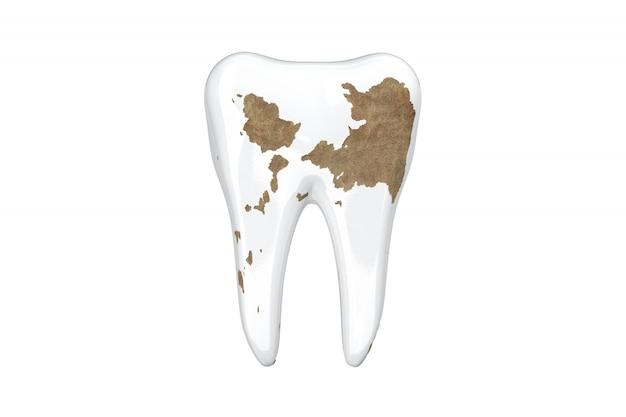 Isole os dentes próximos acima de dano. 3d rendem.