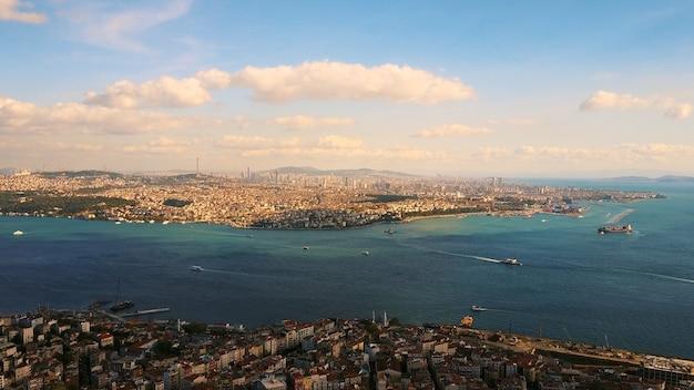 Istambul e o bósforo em uma visão panorâmica