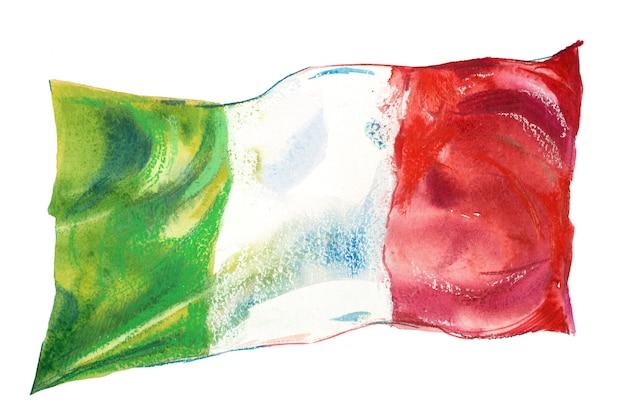 Itália, bandeira italiana. mão-extraídas ilustração em aquarela.