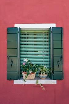 Itália, veneza, ilha de burano. paredes coloridas tradicionais e janelas com venezianas abertas