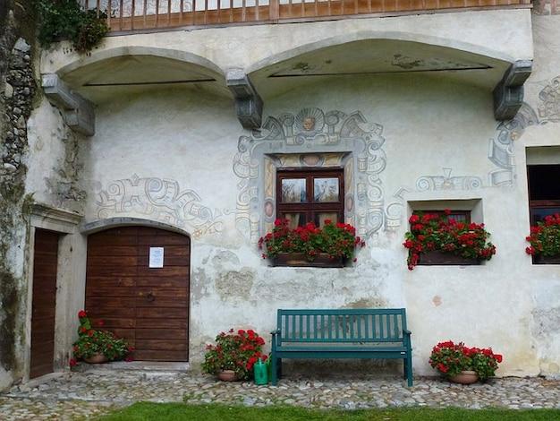 Italy porta de casa flores casa arte banco