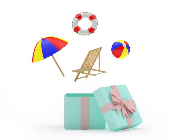 Itens de praia voam de uma caixa de presente aberta