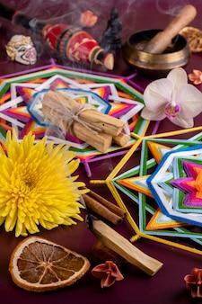 Itens rituais para meditação e relaxamento