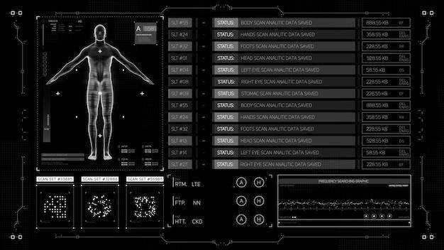 Iu médico futurista hud tela de exibição cabeça para cima renderização em 3d