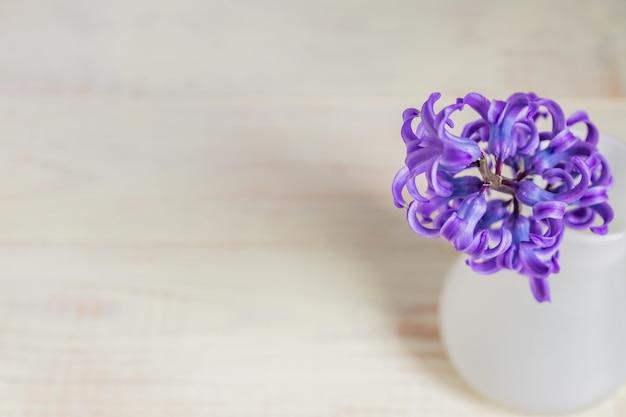 Jacinto de florescência roxo bonito no vaso de vidro branco na tabela de madeira. buquê de primavera para decoração de interiores, criativo, com espaço de cópia