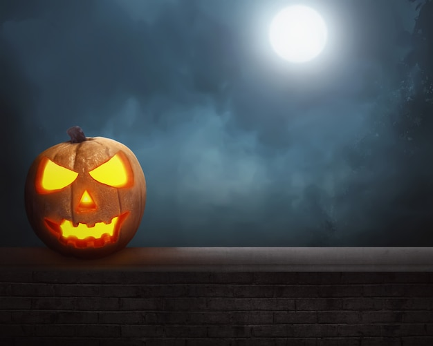 Jack o'lantern sob a lua cheia