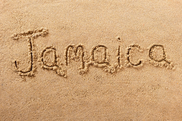 Jamaica manuscrita praia areia mensagem