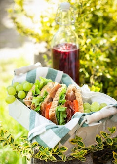 Jamon e sanduíches de legumes em uma cesta, suco de uvas e bagas, piquenique ao ar livre, close-up
