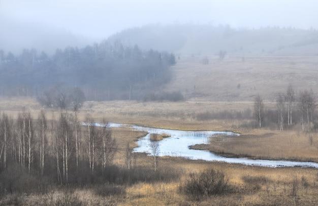 Janeiro com nevoeiro sobre o lago no vale de izboursko-malskaya (pskov)