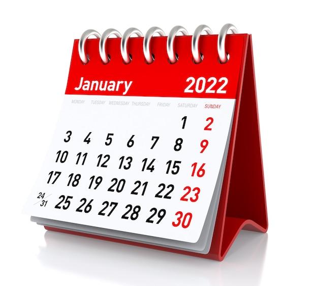 Janeiro de 2022 - calendário. isolado no fundo branco. ilustração 3d