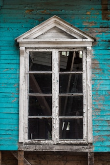 Janela antiga, cor azul, pintura