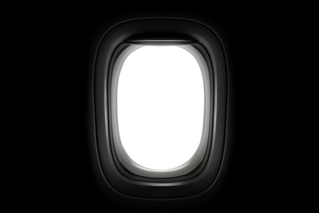 Janela de avião isolada em fundo escuro.