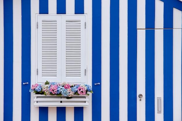 Janela de madeira branca da casa colorida típica da cidade de aveiro em portugal.