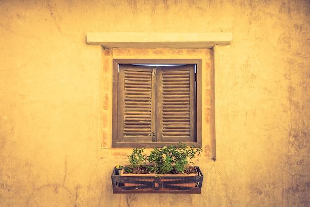 Janela de madeira com um vaso com plantas