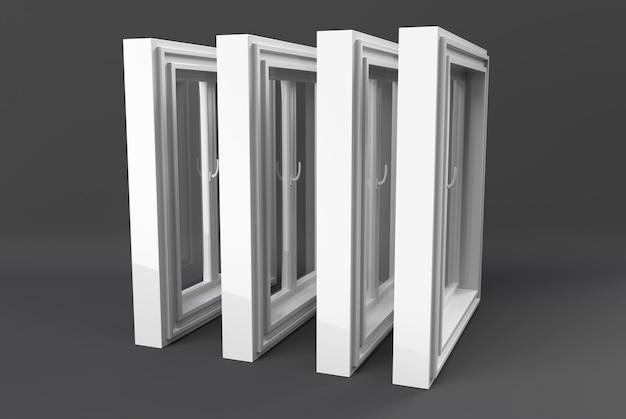 Janela de plástico de uma porta isolada no branco. ilustração 3d