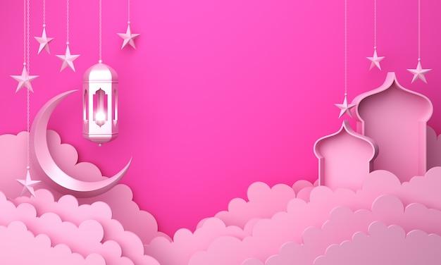 Janela e mesquita lanterna islâmica de fundo