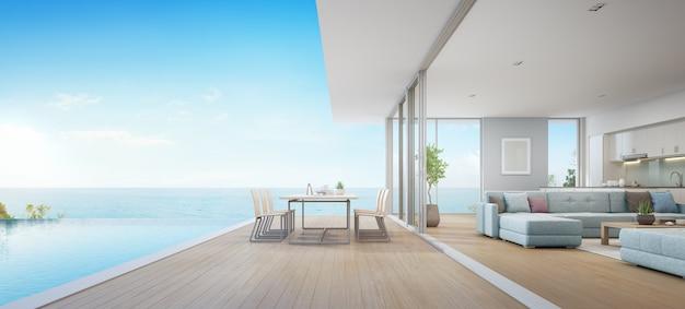 Jantar ao ar livre e sala de estar com vista mar ao lado da cozinha da casa de praia de luxo