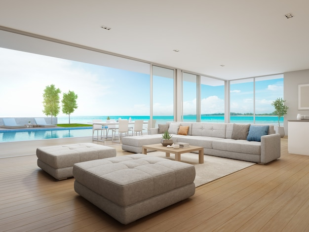 Jantar ao ar livre e vista para o mar sala de estar da casa de praia de luxo.