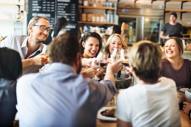 Jantar, jantar, vinho, cheers, partido, conceito