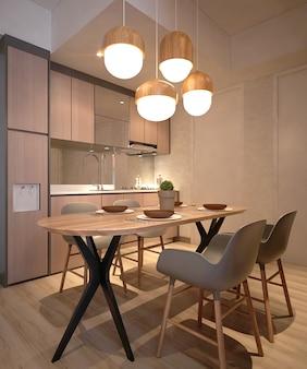 Jantar minimalista moderno e despensa de design de interiores de apartamentos
