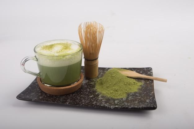 Japanese matcha tea white background