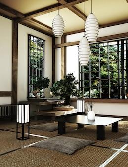 Japão room design em estilo japonês. renderização 3d