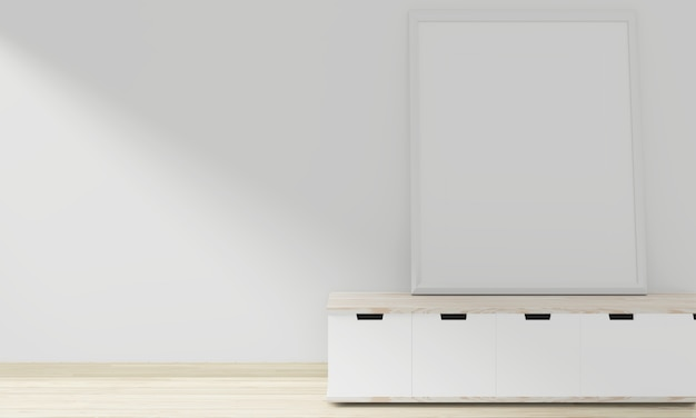 Japonês de madeira do armário com design mínimo do quadro em branco da foto no design de interiores da sala vazia. renderização em 3d