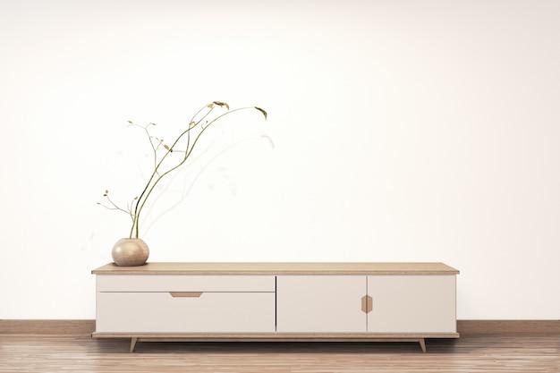 Japonês de madeira do armário na sala de estar estilo zen fundo de parede vazia