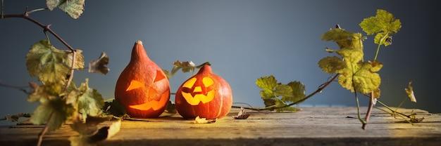 Jaque de abóbora de halloween deixa de madeira